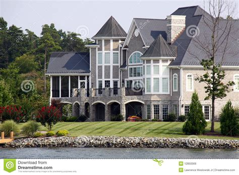 Waterfront Cottage Plans Mansion The Water Smith Mountain Lake Royalty Free Stock