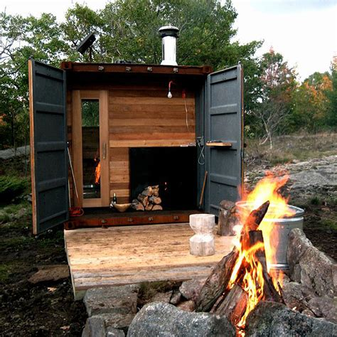 backyard steam room shipping container is transformed into a sauna by castor