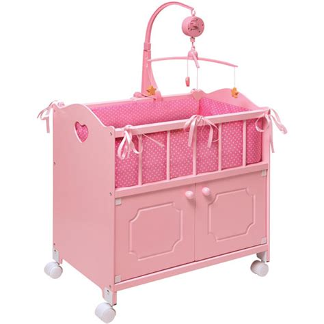 Crib For Dolls by Badger Basket Pink Doll Crib With Cabinet Bedding