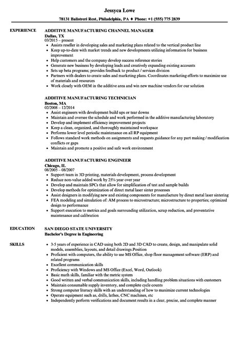 Resume D by Additive Manufacturing Resume Sles Velvet