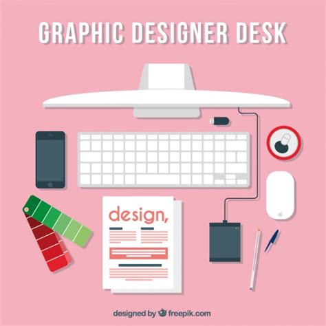 pink graphic designer desk vector free