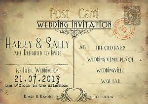 personalised vintage chic postcard wedding invitations x 10 shabby chic style ebay