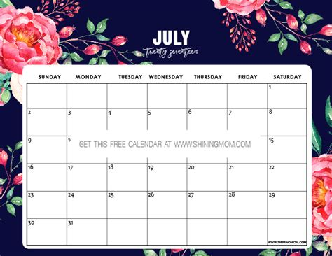 printable calendar 2017 pretty free printable july 2017 calendar 12 pretty designs