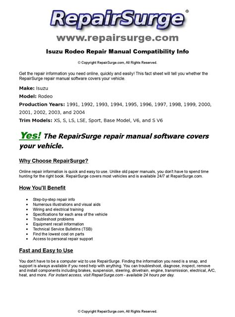 how to download repair manuals 2003 isuzu rodeo electronic valve timing isuzu rodeo online repair manual for 1991 1992 1993 1994 1995 1996 1997 1998 1999 2000