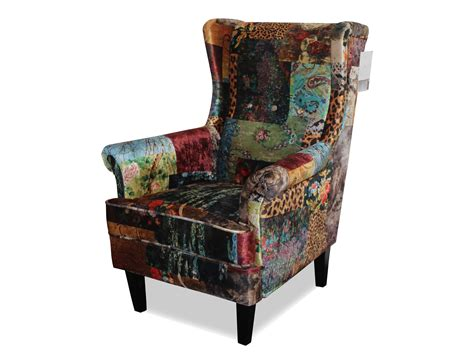 Patchwork Upholstered Furniture - wingback chair upholstered in digital print