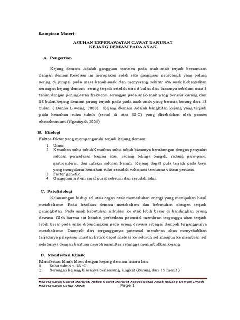 format asuhan keperawatan gawat darurat pdf materi askep gawat darurat kejang demam anak