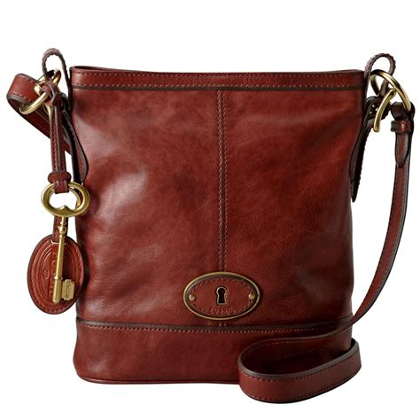 fossil vintage re issue russet brown leather bag