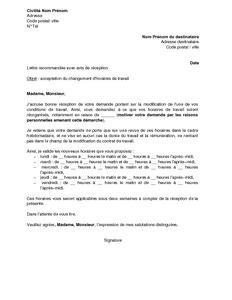 Modèle De Lettre De Demande De Changement D Horaire Lettre D Acceptation Par L Employeur De La Demande De