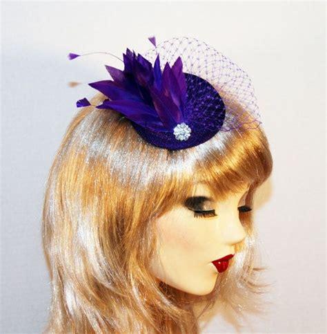 purple fascinator hat purple fascinator hat with purple birdcage veil feathers