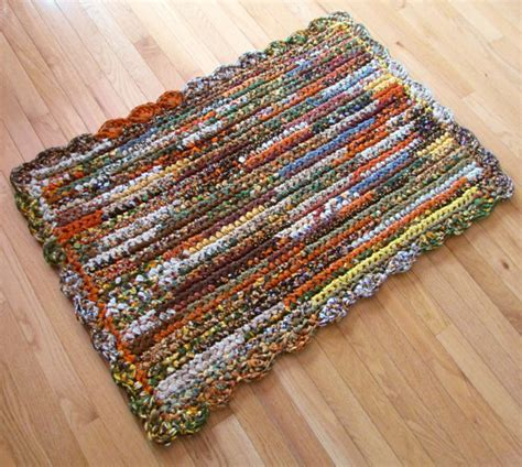 Fabric Rug by Crocheted Cotton Fabric Rectangular Rag Rug For By