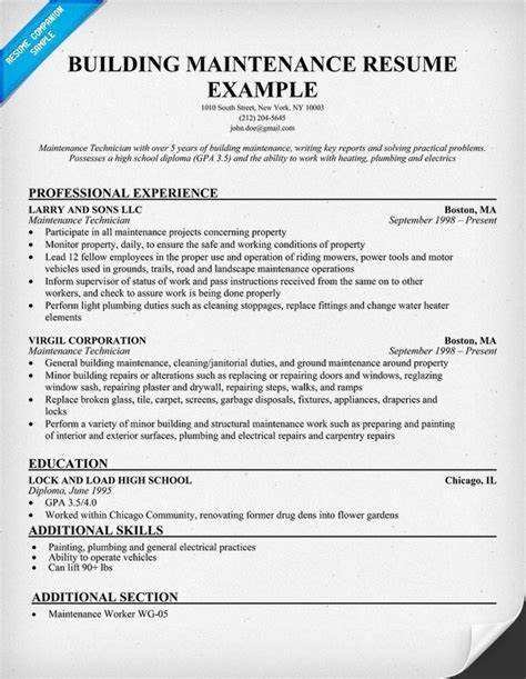 Maintenance Worker Resume by Sle Resume For Maintenance Worker Jennywashere