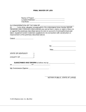 lien waiver form template best photos of free lien waiver print free lien waiver