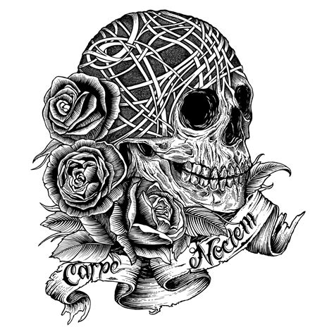 free coloring pages of skull and roses