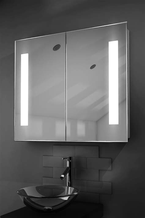 duo led illuminated bathroom mirror cabinet with sensor