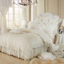 luxury lace ruffle bedding set king cotton
