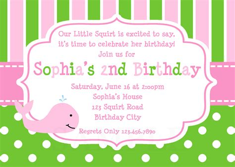 printable birthday party invitations printable birthday invitations girls whale party