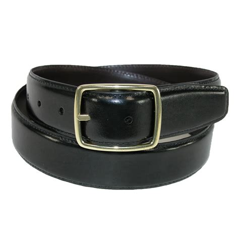 mens leather gold buckle center bar reversible belt by