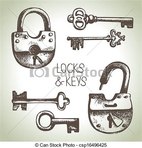 hand drawn locks and keys set vector illustration search