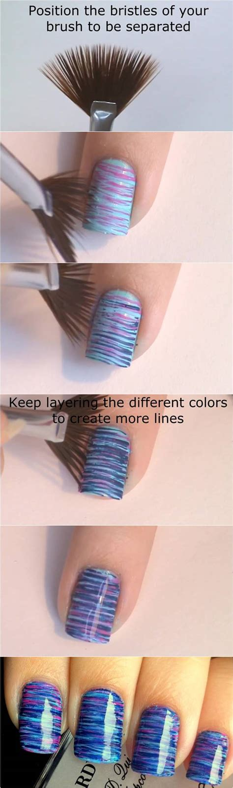 easy nail art with fan brush how to diy blue and pink fan brush striped nail art