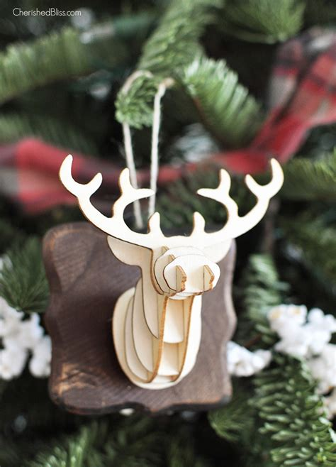 christmas decorations with deer head pic 3d deer ornament cherished bliss