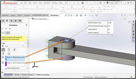 solidworks tutorial bolt solidworks simulation 2016 bolts and pins on same body