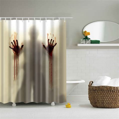 Bathroom Curtains by Shower Bathroom Curtain Fabric Drapes Panel 12 Hook Ring