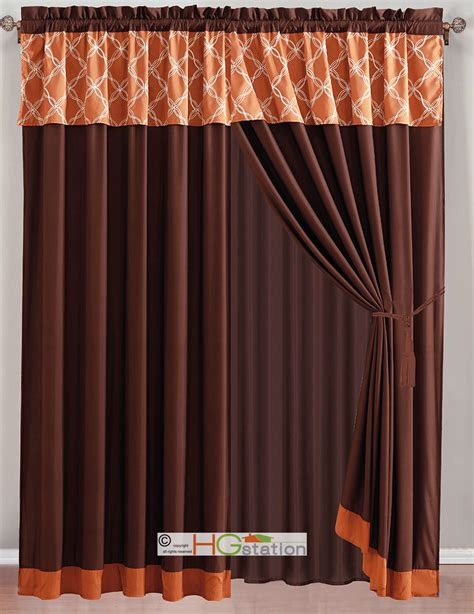 Rust Colored Curtains Designs 4 Pc Coleen Intertwining Lines Embroidery Curtain Set Rust Orange Brown Valance Ebay