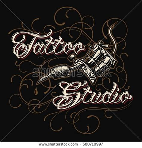 tattoo lettering backgrounds tattoo studio emblem tattoo machines skull stock vector