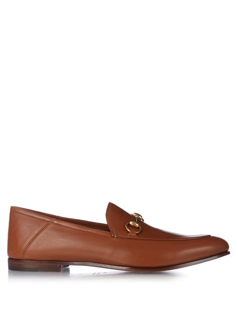 gucci leather loafers for gucci brixton leather loafers in brown for lyst