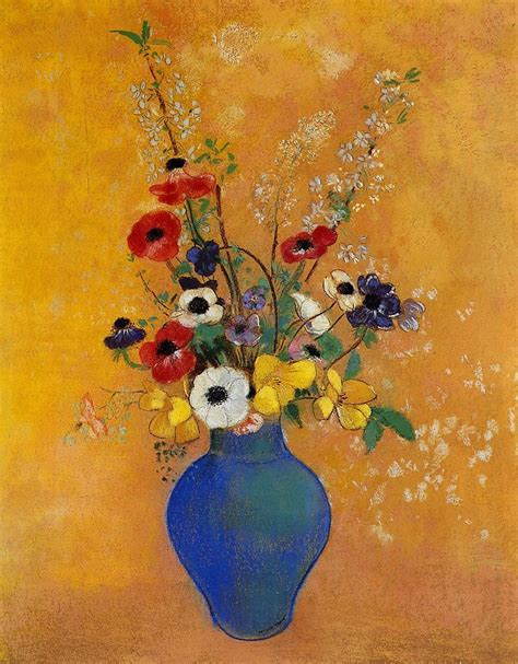 Vase Paintings by Painting Of Yellow Flowers In Blue Vase By Artists