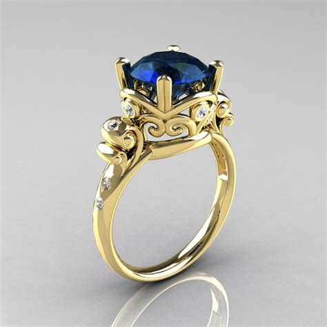 modern vintage 18k yellow gold 2 5 carat blue
