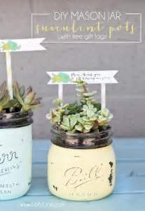 Diy mason jar succulent pots with free printable gift tags 600x871