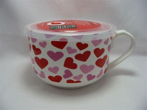 "Microwave MicrowaveMe Soup Coffee Mug Bowl 5"" Steam Lid Oven Red Hearts Ciroa   eBay"