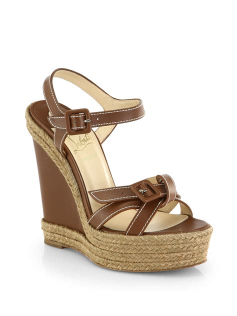 espadrille sandals lyst christian louboutin zero problem leather espadrille