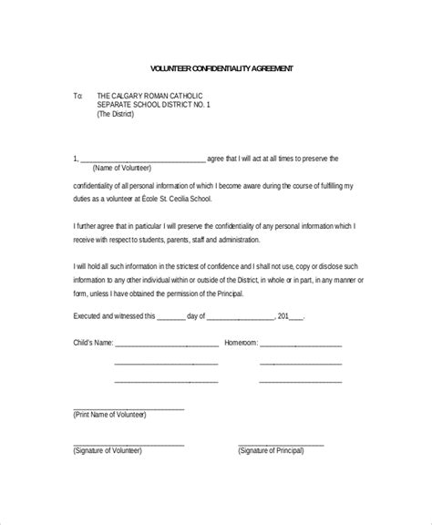 Secrecy Agreement Template by 11 Volunteer Confidentiality Agreement Templates Doc