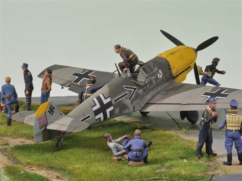 figure diorama messerschmitt bf109 with ground diorama 9 1 48 exclusive