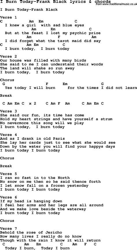 burning house printable lyrics love song lyrics for i burn today frank black with chords
