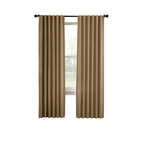 home depot draperies solaris black media back tab curtain 1622299 the home depot