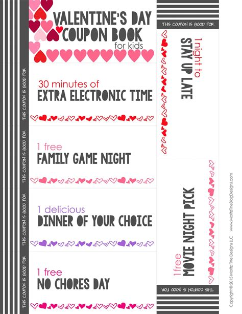 valentines coupons s day coupon book for free printable