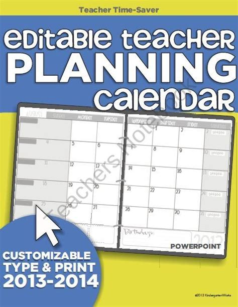 2013 2014 editable teacher planning calendar template from