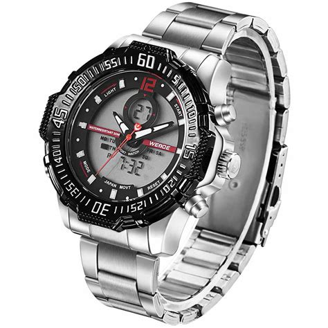 Jam Tangan Pria Actial Dual Time Black weide jam tangan pria stainless steel wh6105 black jakartanotebook