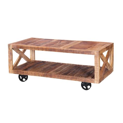 colorado 47 quot handcrafted solid wood wheeled industrial