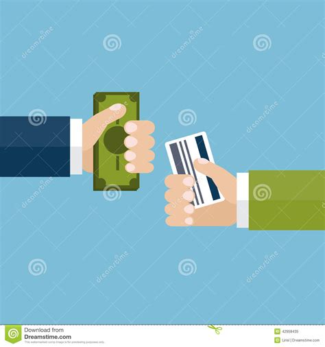 Holding Credit Card Template Business Concept Exchange Money For Credit Card Stock Vector Image 42958435
