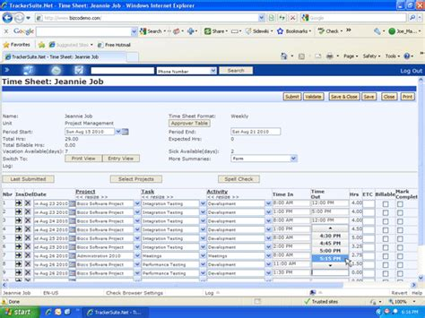 time in time out web timesheet format time tracker net