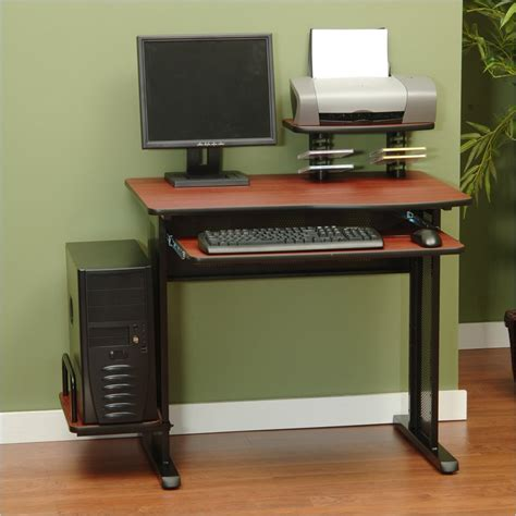 Cherrywood Computer Desk Studio Rta Network Wood Black Cherry Computer Desk Ebay