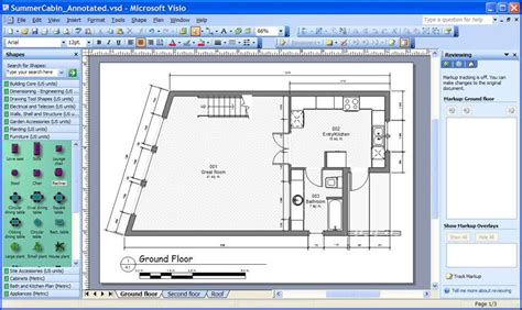 First Floor Plan by Svg Scenarios Using Microsoft Office Visio 2003