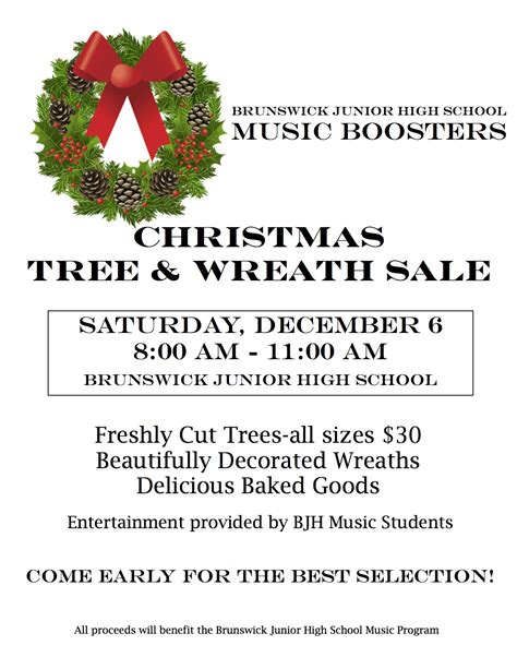 christmas trees for sales flyers annual bjh boosters tree wreath sale brunswick junior high school