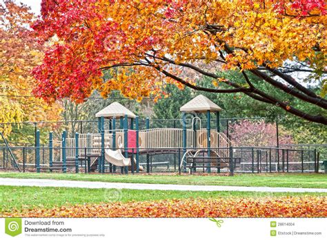 beautiful outdoors beautiful outdoors playground in autumn park stock