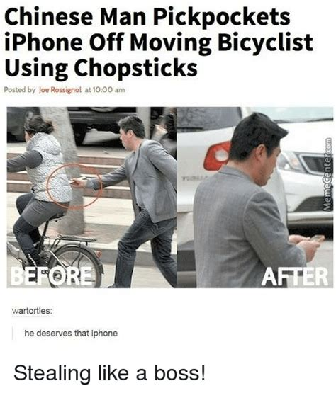 Chinese Man Meme - chinese man pickpockets iphone off moving bicyclist using