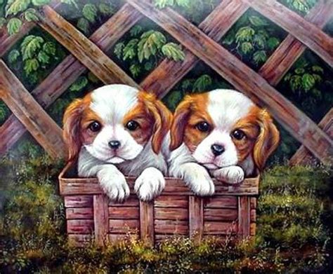 puppy paint china handpainted animal paintings with stretched bar